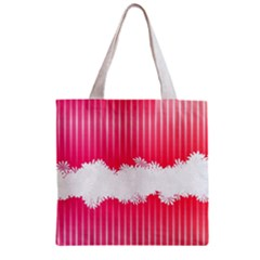 Digitally Designed Pink Stripe Background With Flowers And White Copyspace Zipper Grocery Tote Bag by Nexatart