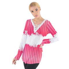 Digitally Designed Pink Stripe Background With Flowers And White Copyspace Women s Tie Up Tee