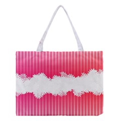 Digitally Designed Pink Stripe Background With Flowers And White Copyspace Medium Tote Bag by Nexatart