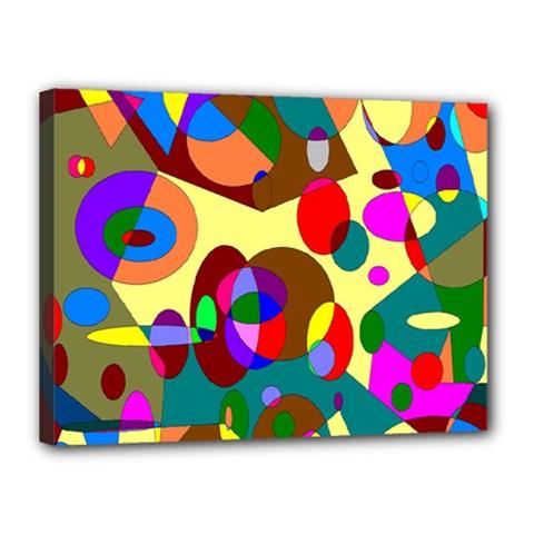Abstract Digital Circle Computer Graphic Canvas 16  X 12  by Nexatart