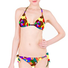 Abstract Digital Circle Computer Graphic Bikini Set