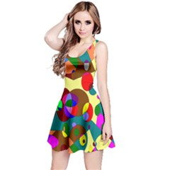 Abstract Digital Circle Computer Graphic Reversible Sleeveless Dress