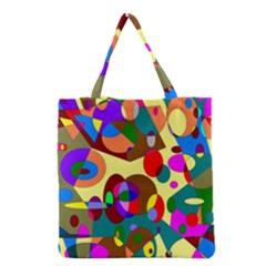 Abstract Digital Circle Computer Graphic Grocery Tote Bag by Nexatart