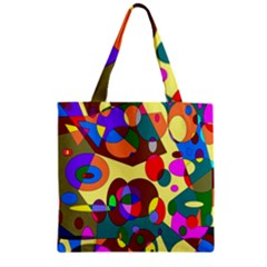 Abstract Digital Circle Computer Graphic Zipper Grocery Tote Bag by Nexatart