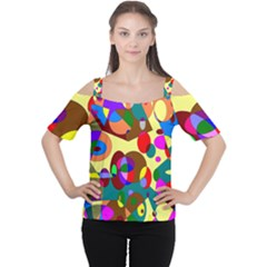 Abstract Digital Circle Computer Graphic Women s Cutout Shoulder Tee