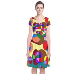 Abstract Digital Circle Computer Graphic Short Sleeve Front Wrap Dress