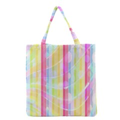Abstract Stipes Colorful Background Circles And Waves Wallpaper Grocery Tote Bag by Nexatart