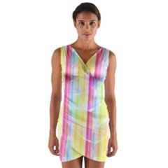 Abstract Stipes Colorful Background Circles And Waves Wallpaper Wrap Front Bodycon Dress