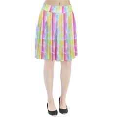 Abstract Stipes Colorful Background Circles And Waves Wallpaper Pleated Skirt by Nexatart