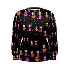 Kids Tile A Fun Cartoon Happy Kids Tiling Pattern Women s Sweatshirt