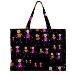 Kids Tile A Fun Cartoon Happy Kids Tiling Pattern Zipper Mini Tote Bag by Nexatart