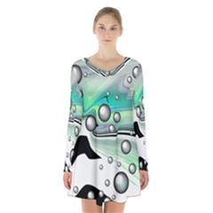 Small And Big Bubbles Long Sleeve Velvet V Neck Dress