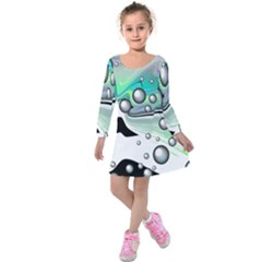 Small And Big Bubbles Kids  Long Sleeve Velvet Dress