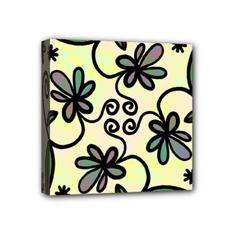 Completely Seamless Tileable Doodle Flower Art Mini Canvas 4  X 4  by Nexatart