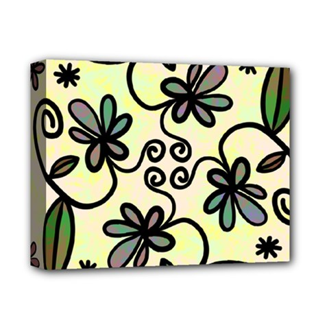 Completely Seamless Tileable Doodle Flower Art Deluxe Canvas 14  X 11  by Nexatart