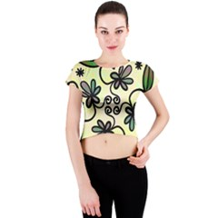 Completely Seamless Tileable Doodle Flower Art Crew Neck Crop Top