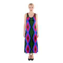 Quadrate Repetition Abstract Pattern Sleeveless Maxi Dress