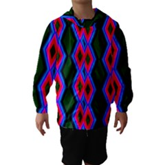 Quadrate Repetition Abstract Pattern Hooded Wind Breaker (Kids) by Nexatart
