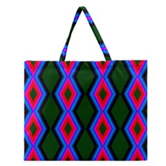 Quadrate Repetition Abstract Pattern Zipper Large Tote Bag