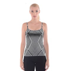 Black And White Line Abstract Spaghetti Strap Top