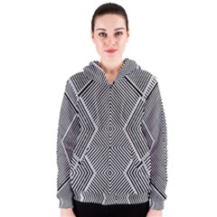 Black And White Line Abstract Women s Zipper Hoodie