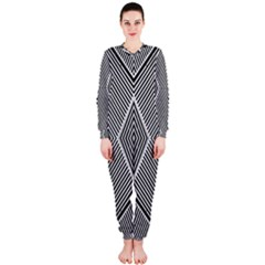 Black And White Line Abstract Onepiece Jumpsuit (ladies)