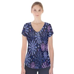Pixel Pattern Colorful And Glittering Pixelated Short Sleeve Front Detail Top