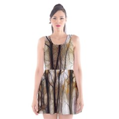 Fall Forest Artistic Background Scoop Neck Skater Dress