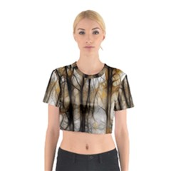 Fall Forest Artistic Background Cotton Crop Top by Nexatart