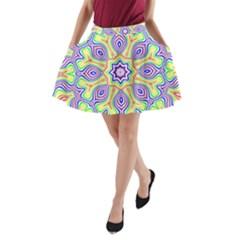 Rainbow Kaleidoscope A Line Pocket Skirt by Nexatart