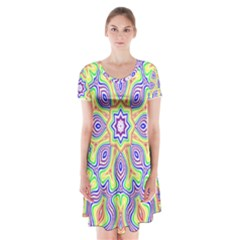 Rainbow Kaleidoscope Short Sleeve V Neck Flare Dress