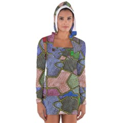 Background With Color Kindergarten Tiles Women s Long Sleeve Hooded T Shirt