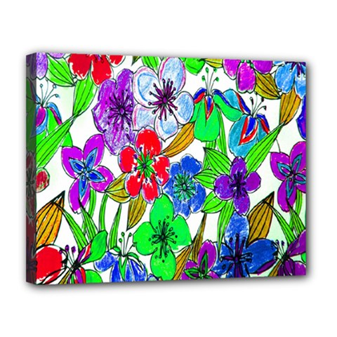 Background Of Hand Drawn Flowers With Green Hues Canvas 14  X 11  by Nexatart
