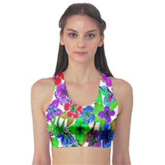 Background Of Hand Drawn Flowers With Green Hues Sports Bra