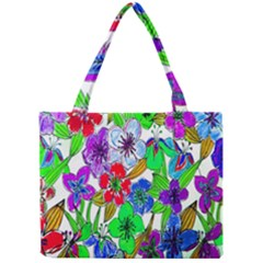Background Of Hand Drawn Flowers With Green Hues Mini Tote Bag