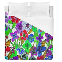 Background Of Hand Drawn Flowers With Green Hues Duvet Cover (queen Size) by Nexatart