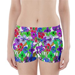Background Of Hand Drawn Flowers With Green Hues Boyleg Bikini Wrap Bottoms by Nexatart