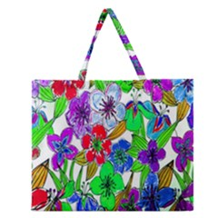 Background Of Hand Drawn Flowers With Green Hues Zipper Large Tote Bag by Nexatart