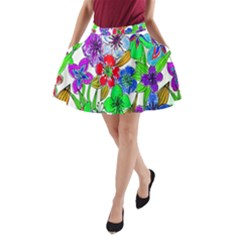 Background Of Hand Drawn Flowers With Green Hues A Line Pocket Skirt by Nexatart