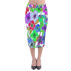 Background Of Hand Drawn Flowers With Green Hues Velvet Midi Pencil Skirt