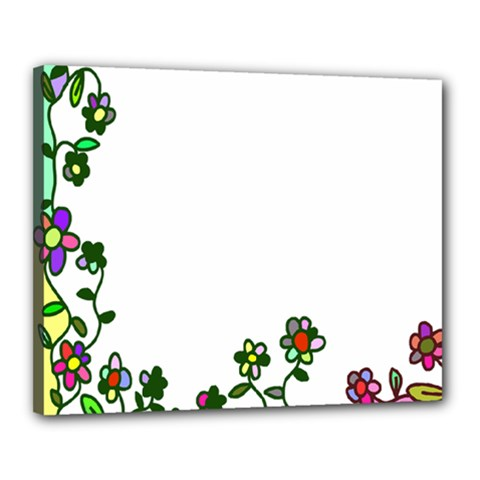 Floral Border Cartoon Flower Doodle Canvas 20  X 16  by Nexatart