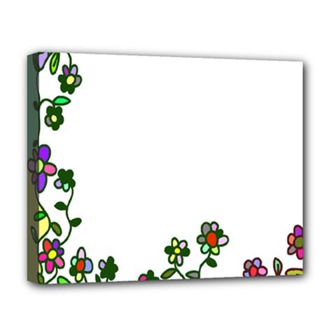 Floral Border Cartoon Flower Doodle Deluxe Canvas 20  X 16   by Nexatart