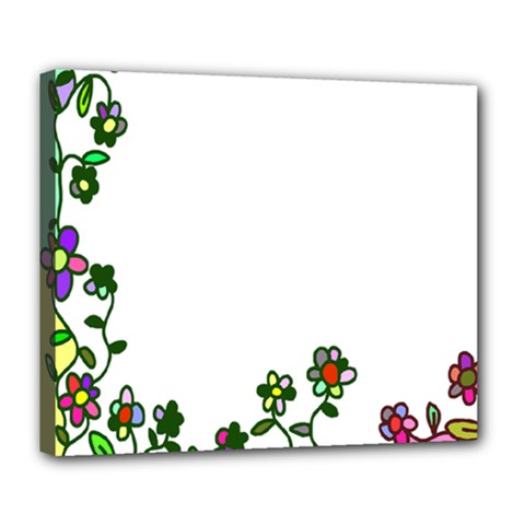 Floral Border Cartoon Flower Doodle Deluxe Canvas 24  X 20   by Nexatart