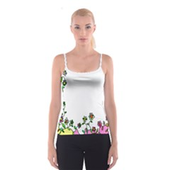 Floral Border Cartoon Flower Doodle Spaghetti Strap Top