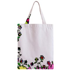 Floral Border Cartoon Flower Doodle Zipper Classic Tote Bag by Nexatart
