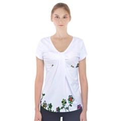 Floral Border Cartoon Flower Doodle Short Sleeve Front Detail Top
