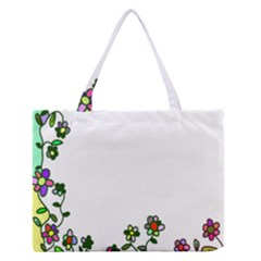 Floral Border Cartoon Flower Doodle Medium Zipper Tote Bag by Nexatart