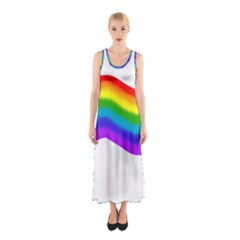 Watercolour Rainbow Colours Sleeveless Maxi Dress