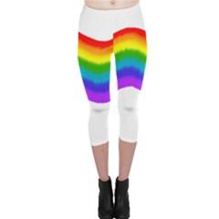 Watercolour Rainbow Colours Capri Leggings