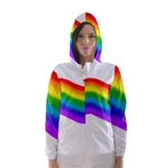 Watercolour Rainbow Colours Hooded Wind Breaker (women)